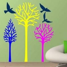 Αυτοκόλλητα τοίχου, Δέντρα και πουλιά, Birds & Trees, έντονα χρώματα