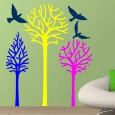 Birds & Trees έντονα χρώματα, αυτοκόλλητο τοίχου