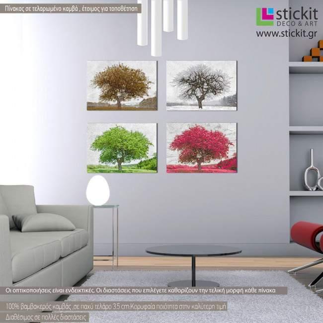 4 Seasons, τετράπτυχος πίνακας σε καμβά (multipanel)