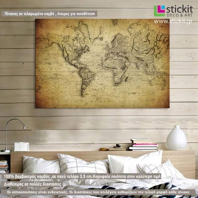 Vintage world map 1814, πίνακας σε καμβά