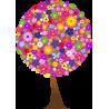 Δέντρο από λουλούδια (λιλά φόντο), αυτοκόλλητο τοίχου, κοντινό