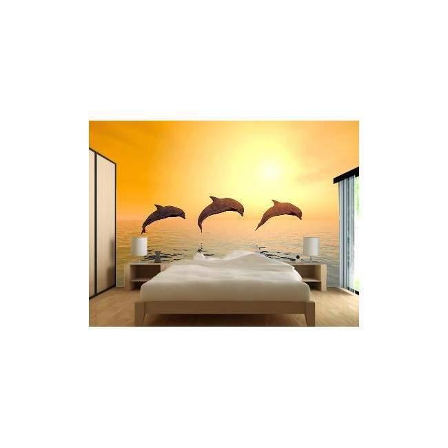 Δελφίνια στο ηλιοβασίλεμα, ταπετσαρία τοίχου φωτογραφική