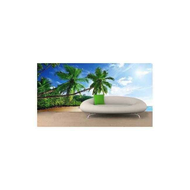 Ειδυλλιακή παραλία με φοίνικες, ταπετσαρία τοίχου φωτογραφική