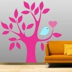 Αυτοκόλλητο τοίχου, Δέντρο, καρδιά και πουλί, λιλά