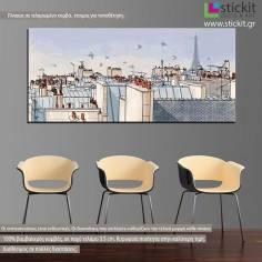 Paris roofs, πανοραμικός πίνακας σε καμβά