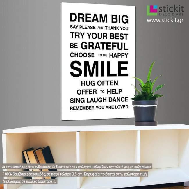 Dream Big (house rules), πίνακας σε καμβά
