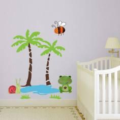 Happy day, αυτοκόλλητο τοίχου με φοίνικες , βατραχακι κι λιμνούλα