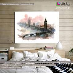 London (watercolors), πίνακας σε καμβά
