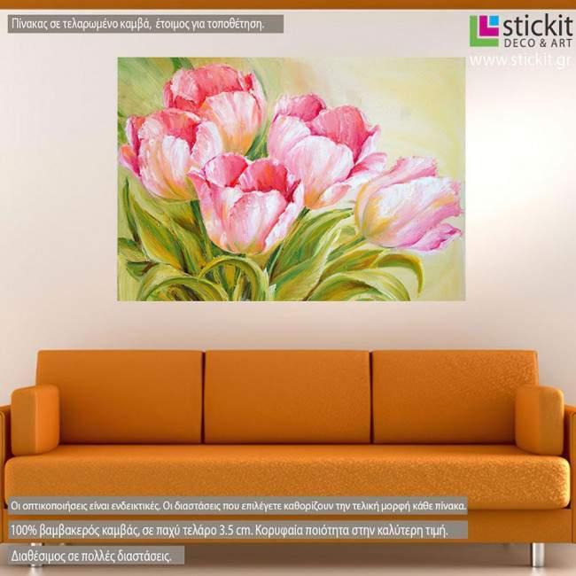 Pink tulips, πίνακας σε καμβά