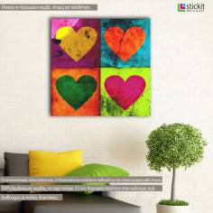 Grunge hearts, πίνακας σε καμβά