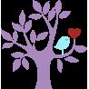 Καρδιά και πουλί σε υπέροχο συνδυασμό | Μώβ κορμός |Αυτοκόλλητο τοίχου