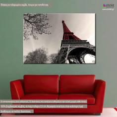 Red Eiffel tower B&W, πίνακας σε καμβά