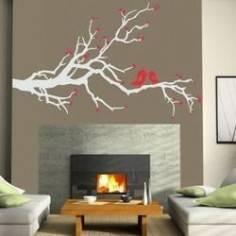 Ερωτευμένα πουλιά γκρι αυτοκόλλητο τοίχου