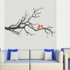 Αυτοκόλλητο τοίχου, Ερωτευμένα πουλιά (Γκρι Πορτοκαλί)