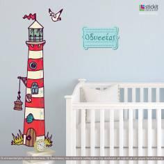 Φάρος, μεζούρα ύψους , αυτοκόλλητα τοίχου υψομετρητής με φάρο και παιδικό όνομα