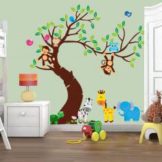 Αυτοκόλλητα τοίχου παιδικά, ζωάκια ζούγκλας στο δέντρο, Jungle time ολόκληρη παράσταση