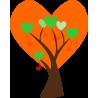 Δέντρο απο μεγάλες καρδιές | Αυτοκόλλητο τοίχου, κοντινό