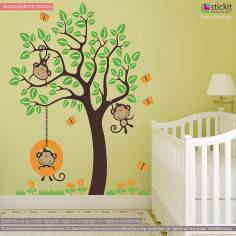 Monkeys Joy, παράσταση σε αυτοκόλλητα τοίχου με χαριτωμένα μαιμουδάκια σε δέντρο