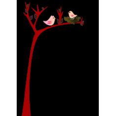 Χαριτωμένο δέντρο με φωλιά πουλιού, αυτοκόλλητο τοίχου