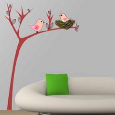 Αυτοκόλλητο τοίχου, φωλιά πουλιών, Χαριτωμένο δέντρο