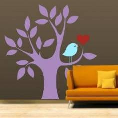 Καρδιά και πουλί μωβ, αυτοκόλλητο τοίχου