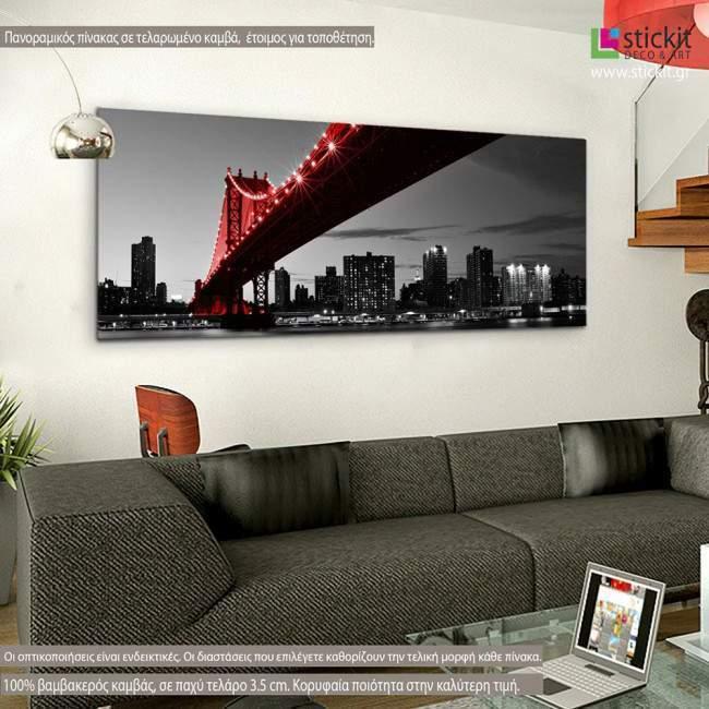 Manhattan Bridge Red & Gray, πανοραμικός πίνακας σε καμβά