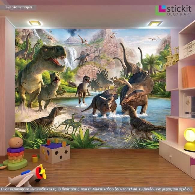 Dinosaur land , φωτογραφική ταπετσαρία χάρτινη με δεινόσαυρους