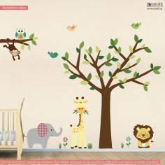 Cute Africa, ολοκληρωμένη παράσταση σε αυτοκόλλητα τοίχου με ζωάκια ζουγκλας και δέντρο