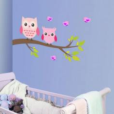 My owl friends, αυτοκόλλητο τοίχου με κουκουβάγιες σε καλδί και πουλάκια