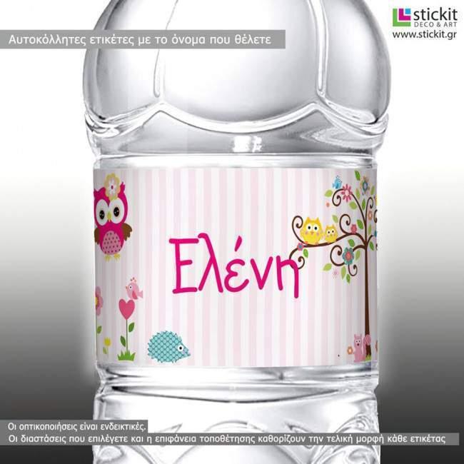My cute owl, 10άδα,αυτοκόλλητες ετικέτες για μπουκάλια αναψυκτικών ,νερού,το όνομα που θέλετε