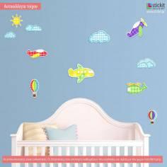 Fly Away! αυτοκόλλητα τοίχου με αεροπλάνα και σύννεφα
