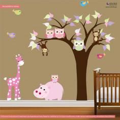 Happiness tree, χαριτωμένη παράσταση σε αυτοκόλλητα τοίχου με ζωάκια και δέντρο