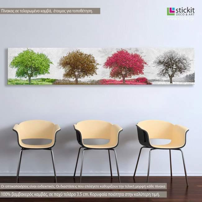 4 seasons, πανοραμικός πίνακας σε καμβά ,180 x 35