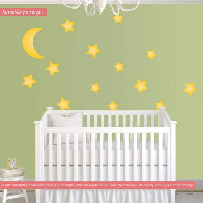 Κίτρινα αστέρια σε διάφορα μεγέθη και φεγγάρι ,αυτοκόλλητα
