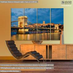 Buda Castle and Chain Bridge in Budapest, τετράπτυχος πίνακας σε καμβά (multipanel)