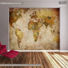 Παγκόσμιος χάρτης Vintage, φωτογραφική ταπετσαρία αυτοκόλλητη