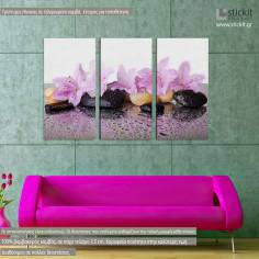 Pink flowers, τρίπτυχος πίνακας σε καμβά