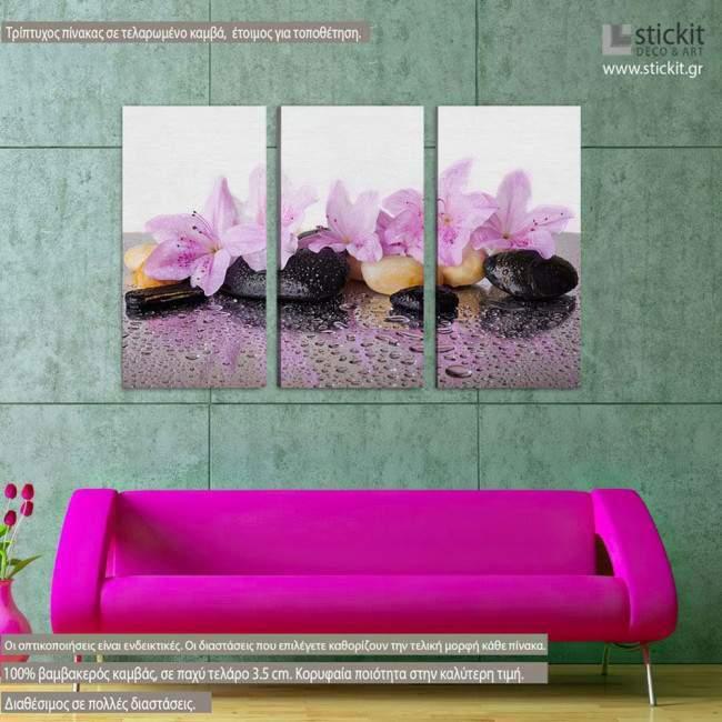 Pink flowers, τρίπτυχος πίνακας σε καμβά (multipanel)