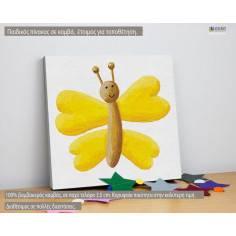 Ζωγραφισμένη πεταλούδα (yellow), παιδικός - βρεφικός πίνακας σε καμβά