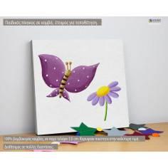 Ζωγραφισμένη πεταλούδα (mauve), παιδικός - βρεφικός πίνακας σε καμβά