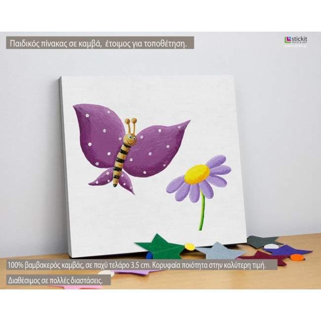 Ζωγραφισμένη πεταλούδα (mauve), πίνακας παιδικός ξύλινος ή σε καμβά