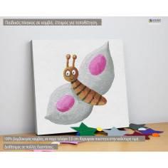 Ζωγραφισμένη πεταλούδα (pink), παιδικός - βρεφικός πίνακας σε καμβά