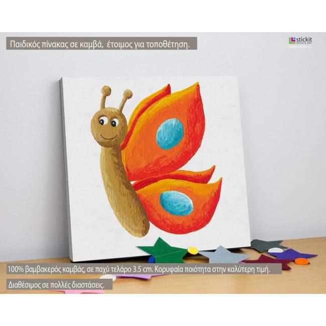 Ζωγραφισμένη πεταλούδα (orange), παιδικός - βρεφικός πίνακας σε καμβά