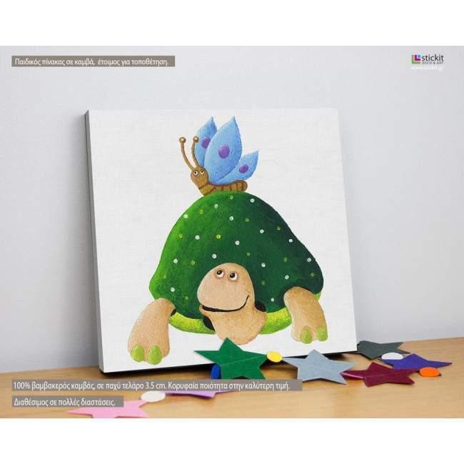 Χελωνίτσα με την φίλη της, πίνακας παιδικός ξύλινος ή σε καμβά