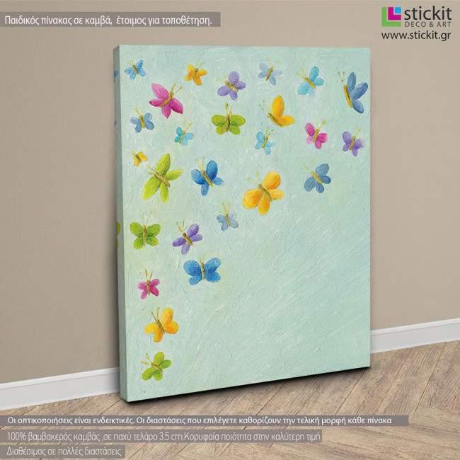Γεμίσαμε πεταλούδες! ,πίνακας παιδικός ,ξύλινος ή σε καμβά