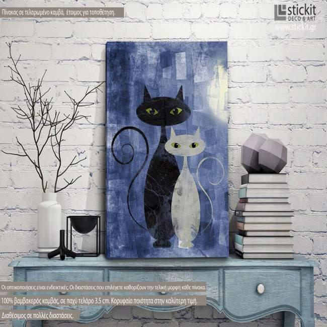 The cats Blue, κάθετος πίνακας σε καμβά