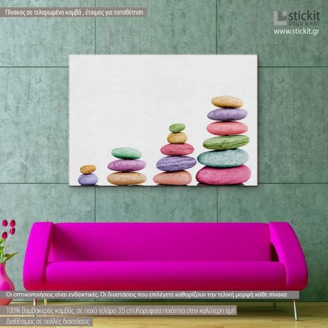 Πίνακας σε καμβά, Stone piles colorful