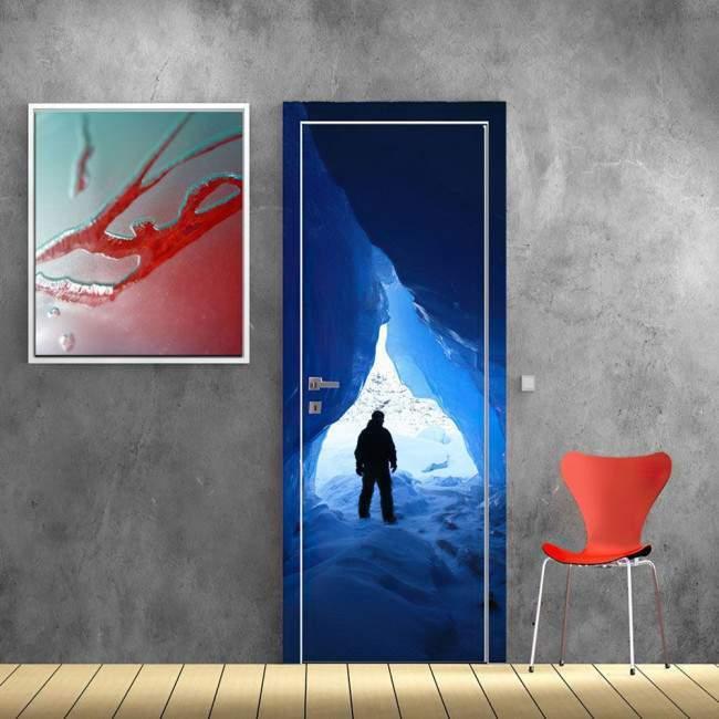 Παγωμένη σπηλιά Αυτοκόλλητο πόρτας, ντουλάπας