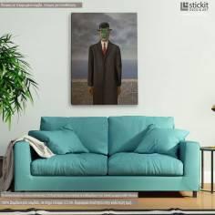 The son of man reart, (Original René Magritte), αντίγραφο - αναπαραγωγή πίνακα σε καμβά