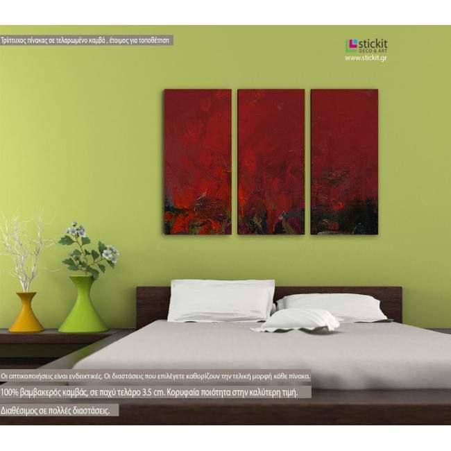 Παπαρούνες, τρίπτυχος πίνακας σε καμβά (multipanel)